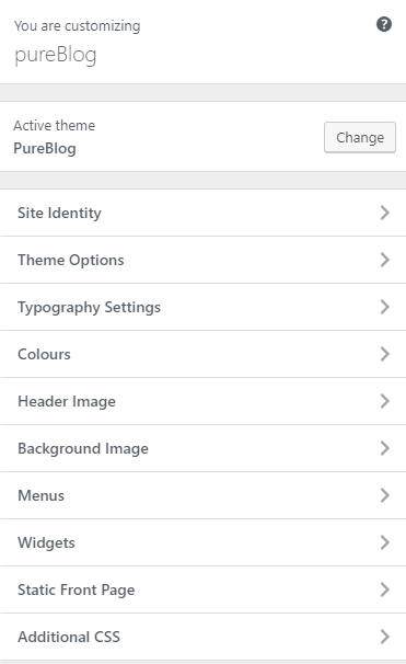 pureblog customizer