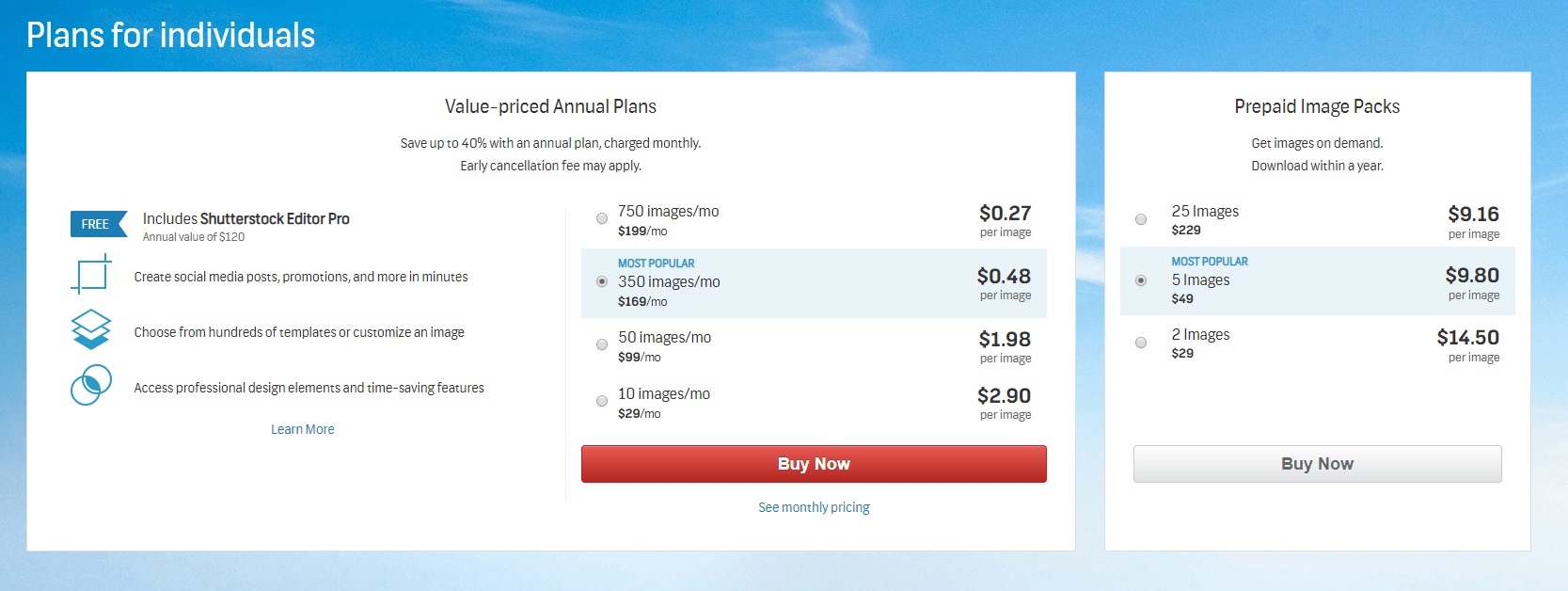 Shutterstock stock photo pricing
