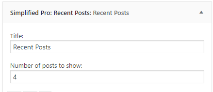 Simplified Pro recent posts settings