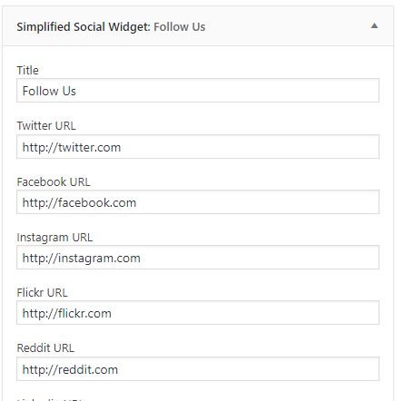 Simplified Pro social widget settings