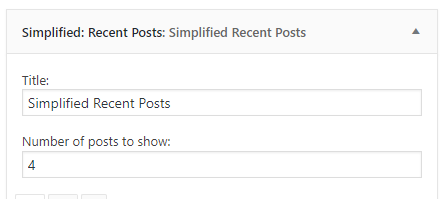 Simplified Recent Posts settings