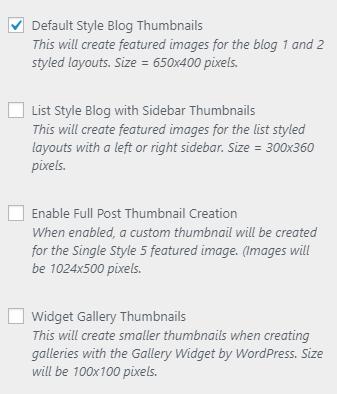 Simplified thumbnail settings